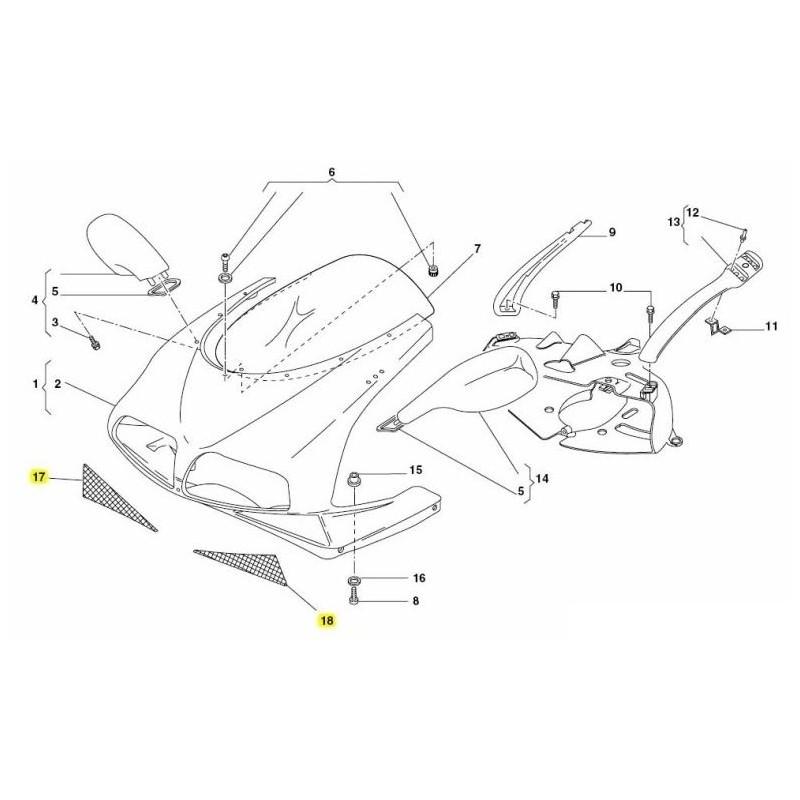Ducati Front Fairing Mesh Vent Screens
